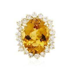 14KT Yellow Gold 8.45 ctw Citrine Quartz and Diamond Ring