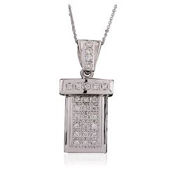 14KT White Gold 0.60 ctw Diamond Pendant With Chain