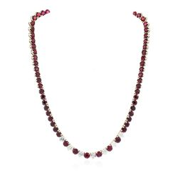 14KT Yellow Gold 51.80 ctw Ruby and Diamond Necklace