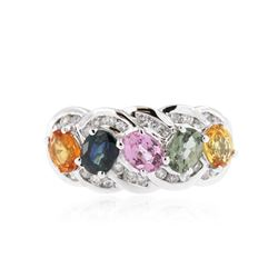 10KT White Gold 1.90 ctw Multicolor Sapphire and Diamond Ring