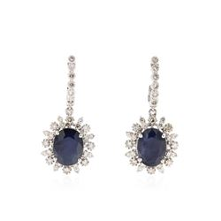 14KT White Gold 11.64 ctw Sapphire and Diamond Earrings