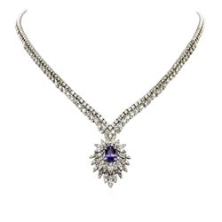 14KT White Gold 2.57 ctw Tanzanite and Diamond Necklace