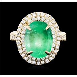 14KT Yellow Gold GIA Certified 7.45 ctw Emerald and Diamond Ring