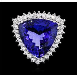 14KT White Gold GIA Certified 17.35 ctw Tanzanite and Diamond Ring
