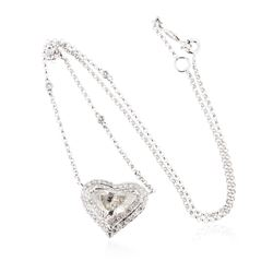 18KT White Gold 3.61 ctw Diamond Heart Necklace