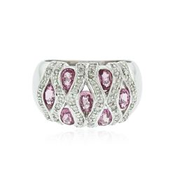 14KT White Gold 1.40 ctw Pink Tourmaline and Diamond Ring