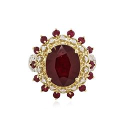 14KT Yellow Gold 13.53 ctw Ruby and Diamond Ring