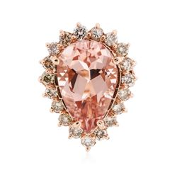 14KT Rose Gold 8.85 ctw Morganite and Diamond Ring