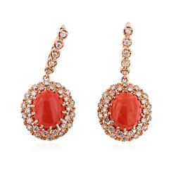 14KT Rose Gold 11.54 ctw Coral and Diamond Earrings