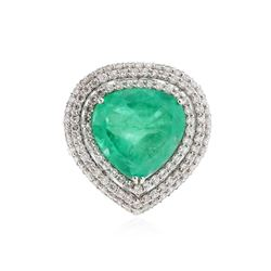 14KT White Gold 12.49 ctw Emerald and Diamond Ring
