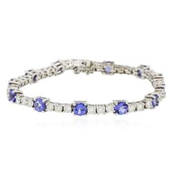 14KT White Gold 6.48 ctw Tanzanite and Diamond Tennis Bracelet