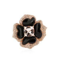 14KT Rose Gold 1.93 ctw Morganite, Onyx and Diamond Ring