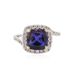 18KT White Gold 3.86 ctw Tanzanite and Diamond Ring
