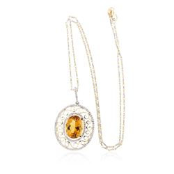 14KT Two-Tone Gold 6.97 ctw Citrine and Diamond Pendant with Chain