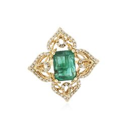 14KT Yellow Gold 2.62 ctw Emerald and Diamond Ring