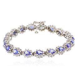 14KT White Gold 8.55 ctw Tanzanite and Diamond Bracelet
