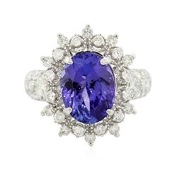 14KT White Gold 4.30 ctw Tanzanite and Diamond Ring