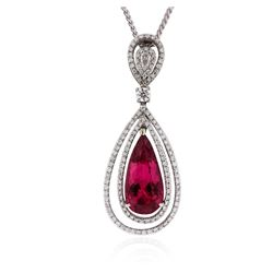 14KT White Gold 3.70 ctw Tourmaline and Diamond Pendant With Chain