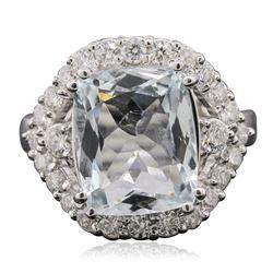 14KT White Gold 4.70 ctw Aquamarine and Diamond Ring