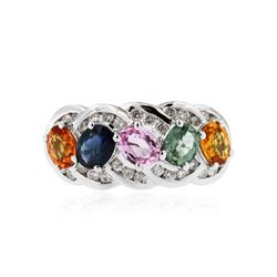 10KT White Gold 1.85 ctw Multicolor Sapphire and Diamond Ring
