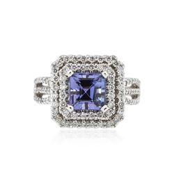 14KT White Gold 2.16 ctw Tanzanite and Diamond Ring