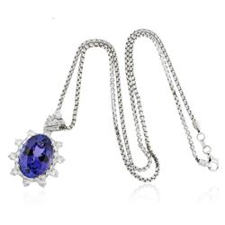 14KT White Gold 11.66 ctw GIA Certified Tanzanite and Diamond Pendant With Chain