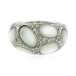 14KT White Gold 2.24 ctw Moonstone and Diamond Ring