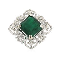 14KT White Gold 13.22 ctw Emerald and Diamond Ring