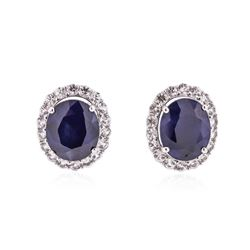 PLATED SILVER 18.17 ctw Blue and White Sapphire Earrings