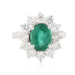 14KT White Gold 2.10 ctw Emerald and Diamond Ring