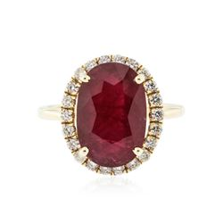 14KT Yellow Gold 5.83 ctw Ruby and Diamond Ring