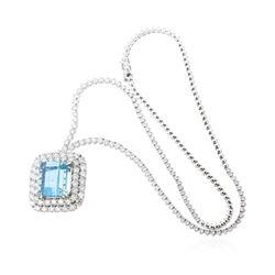18KT White Gold 16.60 ctw GIA Certified Aquamarine and Diamond Pendant W/ Chain