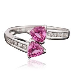 14KT White Gold 1.05 ctw Pink Sapphire and Diamond Ring