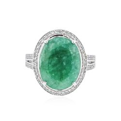 PLATED SILVER 9.30 ctw Emerald and White Topaz Ring