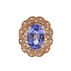 14KT Rose Gold 5.34 ctw Tanzanite and Diamond Ring
