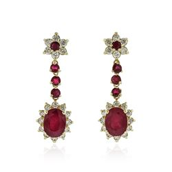 14KT Yellow Gold 6.00 ctw Ruby and Diamond Earrings