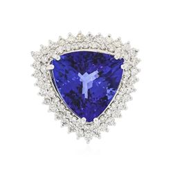 14KT White Gold GIA Certified 18.78 ctw Tanzanite and Diamond Ring
