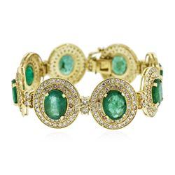 14KT Yellow Gold 37.2 ctw Emerald and Diamond Bracelet