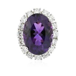 14KT White Gold 12.96 ctw Amethyst and Diamond Ring