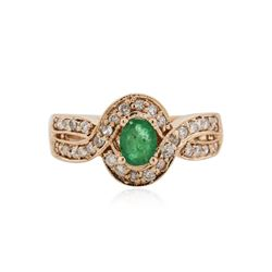 14KT Rose Gold 0.42 ctw Emerald and Diamond Ring