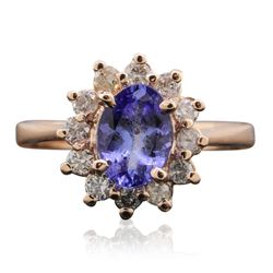 14KT Rose Gold 1.06 ctw Tanzanite and Diamond Ring