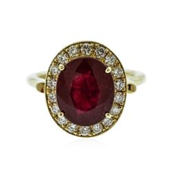 14KT Yellow Gold 7.35 ctw Ruby and Diamond Ring