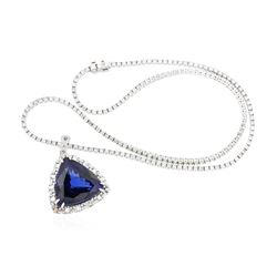 14KT White Gold GIA Certified 46.34 ctw Tanzanite and Diamond Pendant With Chain