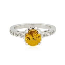 14KT White Gold 2.05 ctw Yellow Sapphire and Diamond Ring