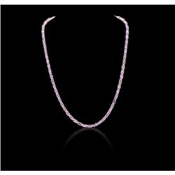 14KT White Gold 14.08 ctw Pink Sapphire and Diamond Necklace