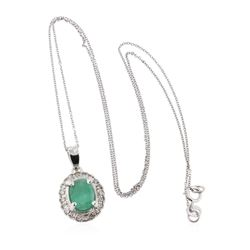 14KT White Gold 1.07 ctw Emerald and Diamond Pendant With Chain