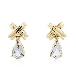 10KT Yellow Gold 1.00 ctw Aquamarine and Diamond Earrings
