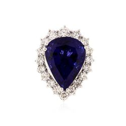 14KT White Gold GIA Certified 27.66 ctw Tanzanite and Diamond Ring