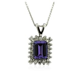 14KT White Gold 2.34 ctw Tanzanite and Diamond Pendant With Chain