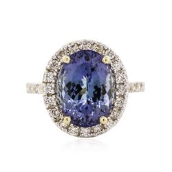 14KT Yellow Gold 5.86 ctw Tanzanite and Diamond Ring